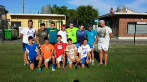 L'équipe minimes de l'US Entraigues XIII lors de la reprise au mois d'août 2015